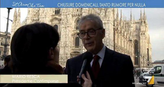 """Mario Resca, Confimprese – Trasmissione La7 """"L'Aria che tira"""" – Intervista su chiusure domenicali"""